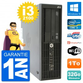 PC HP WorkStation Z210 SFF Core i3-2100 RAM 32Go Disque 1To Windows 10 Wifi