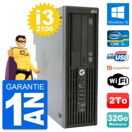 PC HP WorkStation Z210 SFF Core i3-2100 RAM 32Go Disque 2To Windows 10 Wifi