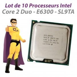 Lot x10 Processeurs CPU Intel Core 2 Duo E6300 1.86Ghz 2Mo SL9TA 1066Mhz LGA775
