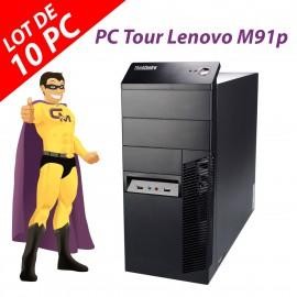Lot x10 PC Tour Lenovo M91p Intel G630 RAM 4Go Disque 250Go Windows 10 Wifi