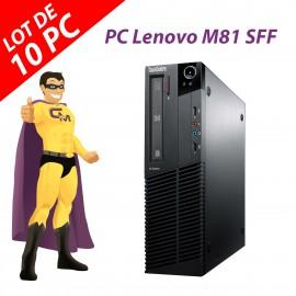 Lot x10 PC Lenovo ThinkCentre M81 SFF Intel G630 RAM 4Go Disque 250Go Windows 10