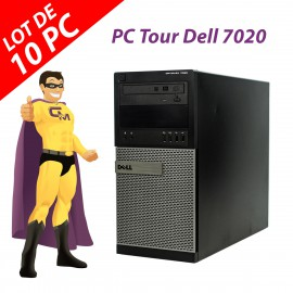 Lot x10 PC Tour Dell 7020 Intel Pentium G3220 RAM 4Go Disque 250Go Windows 10