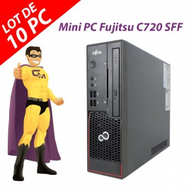 Lot x10 Mini PC Fujitsu Esprimo C720 SFF G3220 RAM 4Go Disque 250Go Windows 10