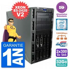 Serveur DELL PE T320 E5-2420 v2 RAM 32Go 2x 300Go H710 Alimentation Redondante