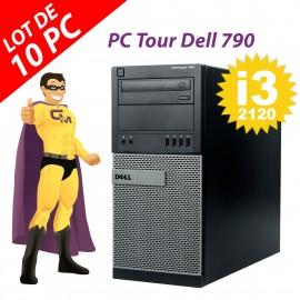 Lot x10 PC Tour Dell 790 MT Intel G630 RAM 4Go Disque Dur 250Go Windows 10 Wifi
