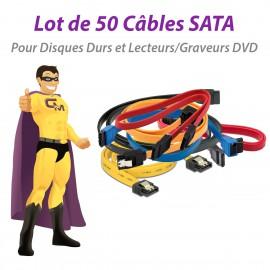 Lot x50 Câbles SATA Disque Dur Graveur DVD Serial-ATA E23714 Tailles Variables
