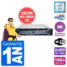 Serveur Dell PE R720 E5-2650V2 16Go 2x600Go SAS H710p Alimentation Redondante