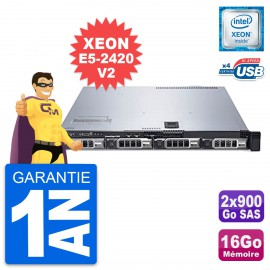 Serveur Rackable Dell PowerEdge R320 Xeon E5-2420V2 32Go 2x900Go SAS Perc H710