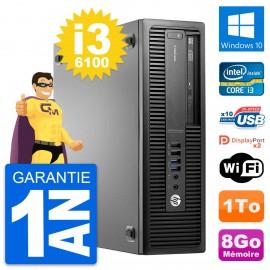 PC HP EliteDesk 800 G2 SFF Intel i3-6100 RAM 8Go Disque Dur 1To Windows 10 Wifi