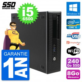 PC HP EliteDesk 800 G2 SFF Intel Core i5-6500 RAM 8Go SSD 240Go Windows 10 Wifi