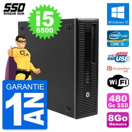 PC HP EliteDesk 800 G2 SFF Intel Core i5-6500 RAM 8Go SSD 480Go Windows 10 Wifi