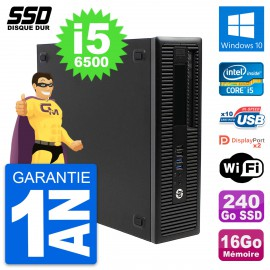 PC HP EliteDesk 800 G2 SFF Intel Core i5-6500 RAM 16Go SSD 240Go Windows 10 Wifi