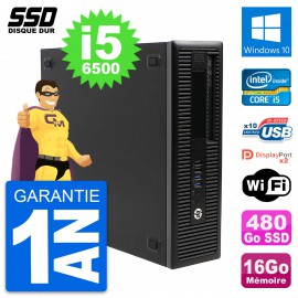 PC HP EliteDesk 800 G2 SFF Intel Core i5-6500 RAM 16Go SSD 480Go Windows 10 Wifi