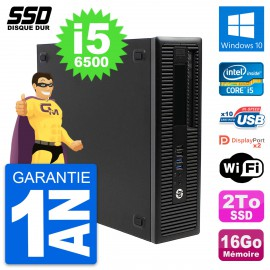 PC HP EliteDesk 800 G2 SFF Intel Core i5-6500 RAM 16Go SSD 2To Windows 10 Wifi