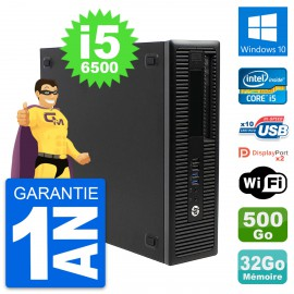PC HP EliteDesk 800 G2 SFF Intel i5-6500 RAM 32Go Disque 500Go Windows 10 Wifi
