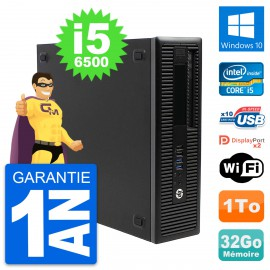 PC HP EliteDesk 800 G2 SFF Intel i5-6500 RAM 32Go Disque 1To Windows 10 Wifi