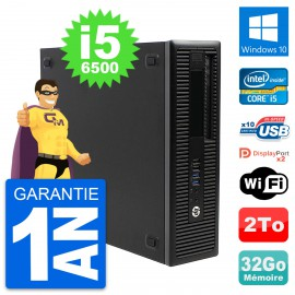 PC HP EliteDesk 800 G2 SFF Intel i5-6500 RAM 32Go Disque 2To Windows 10 Wifi