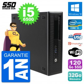 PC HP EliteDesk 800 G2 SFF Intel Core i5-6500 RAM 32Go SSD 120Go Windows 10 Wifi