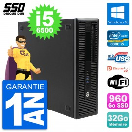 PC HP EliteDesk 800 G2 SFF Intel Core i5-6500 RAM 32Go SSD 960Go Windows 10 Wifi