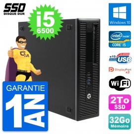 PC HP EliteDesk 800 G2 SFF Intel Core i5-6500 RAM 32Go SSD 2To Windows 10 Wifi