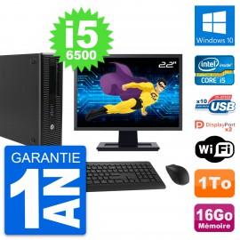 "PC HP 800 G2 SFF Ecran 22"" Intel i5-6500 RAM 16Go Disque 1To Windows 10 Wifi"