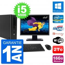 "PC HP 800 G2 SFF Ecran 22"" Intel i5-6500 RAM 16Go Disque 2To Windows 10 Wifi"