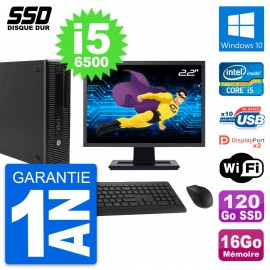 "PC HP EliteDesk 800 G2 SFF Ecran 22"" i5-6500 RAM 16Go SSD 120Go Windows 10 Wifi"