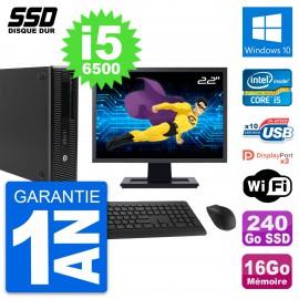 "PC HP EliteDesk 800 G2 SFF Ecran 22"" i5-6500 RAM 16Go SSD 240Go Windows 10 Wifi"