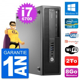 PC HP EliteDesk 800 G2 SFF Intel i7-6700 RAM 8Go Disque Dur 2To Windows 10 Wifi