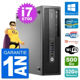 PC HP EliteDesk 800 G2 SFF Intel i7-6700 RAM 32Go Disque 500Go Windows 10 Wifi