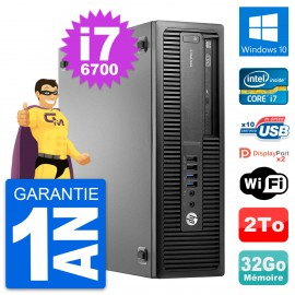 PC HP EliteDesk 800 G2 SFF Intel i7-6700 RAM 32Go Disque 2To Windows 10 Wifi