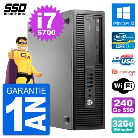 PC HP EliteDesk 800 G2 SFF Intel Core i7-6700 RAM 32Go SSD 240Go Windows 10 Wifi