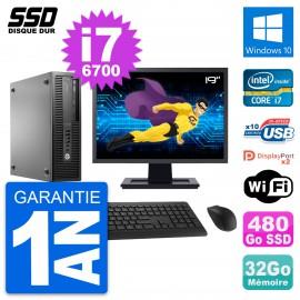 "PC HP EliteDesk 800 G2 SFF Ecran 19"" i7-6700 RAM 32Go SSD 480Go Windows 10 Wifi"