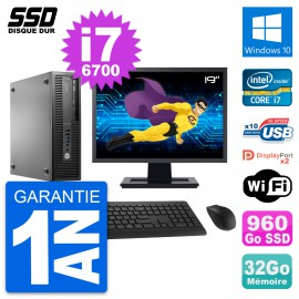 "PC HP EliteDesk 800 G2 SFF Ecran 19"" i7-6700 RAM 32Go SSD 960Go Windows 10 Wifi"