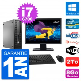 "PC HP EliteDesk 800 G2 SFF Ecran 22"" i7-6700 RAM 8Go Disque 2To Windows 10 Wifi"