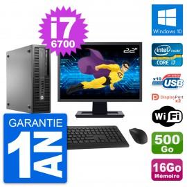 "PC HP 800 G2 SFF Ecran 22"" Intel i7-6700 RAM 16Go Disque 500Go Windows 10 Wifi"