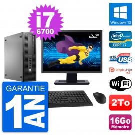 "PC HP 800 G2 SFF Ecran 22"" Intel i7-6700 RAM 16Go Disque 2To Windows 10 Wifi"