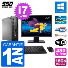"PC HP EliteDesk 800 G2 SFF Ecran 22"" i7-6700 RAM 16Go SSD 480Go Windows 10 Wifi"