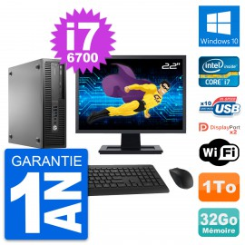 "PC HP 800 G2 SFF Ecran 22"" Intel i7-6700 RAM 32Go Disque 1To Windows 10 Wifi"