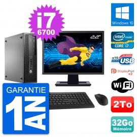 "PC HP 800 G2 SFF Ecran 22"" Intel i7-6700 RAM 32Go Disque 2To Windows 10 Wifi"