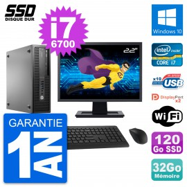 "PC HP EliteDesk 800 G2 SFF Ecran 22"" i7-6700 RAM 32Go SSD 120Go Windows 10 Wifi"