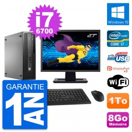 "PC HP EliteDesk 800 G2 SFF Ecran 27"" i7-6700 RAM 8Go Disque 1To Windows 10 Wifi"