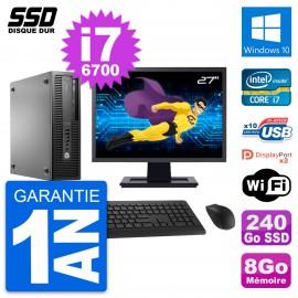 "PC HP EliteDesk 800 G2 SFF Ecran 27"" i7-6700 RAM 8Go SSD 240Go Windows 10 Wifi"