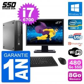 "PC HP EliteDesk 800 G2 SFF Ecran 27"" i7-6700 RAM 8Go SSD 480Go Windows 10 Wifi"