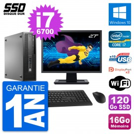 "PC HP EliteDesk 800 G2 SFF Ecran 27"" i7-6700 RAM 16Go SSD 120Go Windows 10 Wifi"