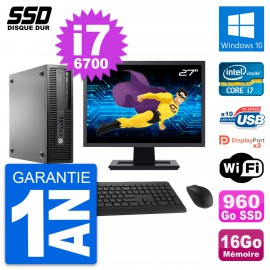 "PC HP EliteDesk 800 G2 SFF Ecran 27"" i7-6700 RAM 16Go SSD 960Go Windows 10 Wifi"