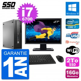 "PC HP EliteDesk 800 G2 SFF Ecran 27"" i7-6700 RAM 16Go SSD 2To Windows 10 Wifi"