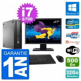 "PC HP 800 G2 SFF Ecran 27"" Intel i7-6700 RAM 32Go Disque 500Go Windows 10 Wifi"