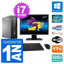 "PC HP 800 G2 SFF Ecran 27"" Intel i7-6700 RAM 32Go Disque 1To Windows 10 Wifi"
