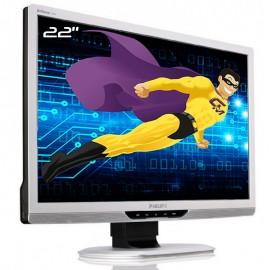 """Ecran PC Pro 22"""" PHILIPS 220B2CS LCD TFT TN VGA DVI 2x USB Audio VESA Widescreen"""